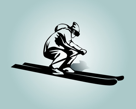 Vector silhouette of skier  Çizim