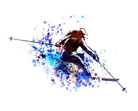 Vector watercolor silhouette skier Ilustrace