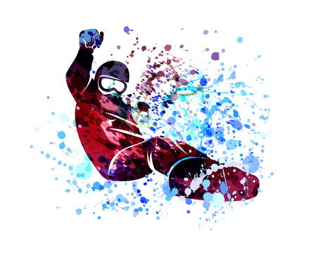 Snowboarder vector watercolor silhouette.