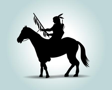 アメリカンインディアンベクトルシルエット。  イラスト・ベクター素材