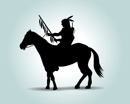 American Indian vector silhouette.