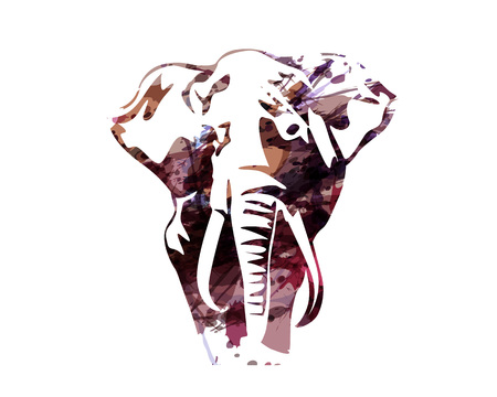Vector watercolor silhouette of an elephant