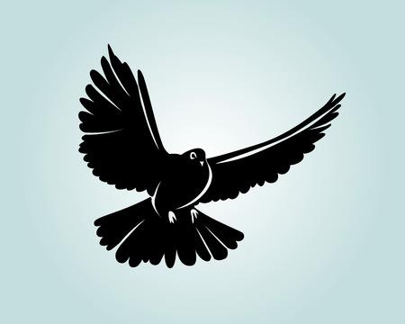 ベクトルシルエット鳩