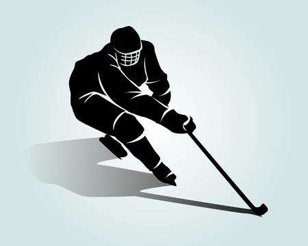 Vector silhouette hockey player