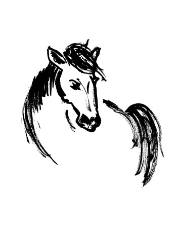 Brush sketch of a horse. Vector illustration Ilustrace