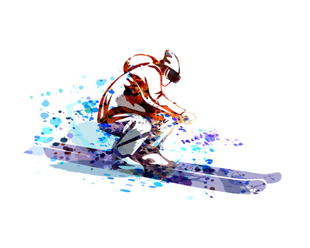 Vector watercolor silhouette of skier