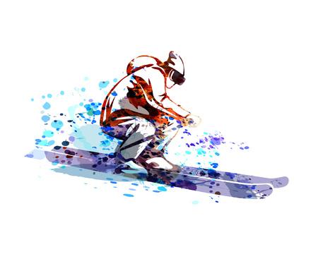 Vecteur aquarelle silhouette de skieur Banque d'images - 93777211