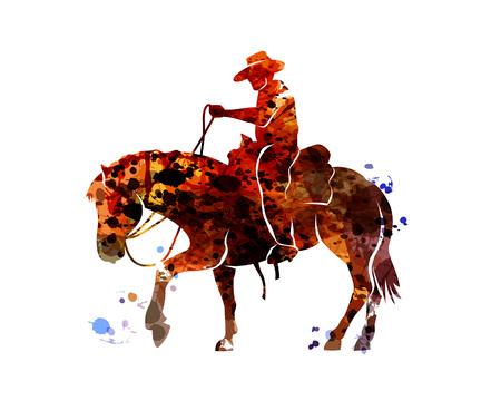 Cowboy della siluetta dell'acquerello di vettore su un cavallo Archivio Fotografico - 93777212