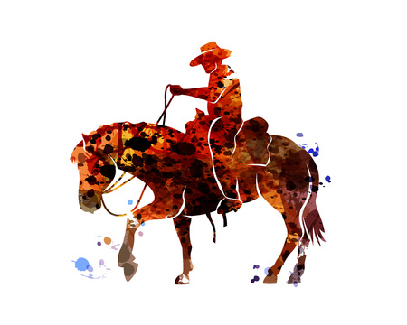 Vector watercolor silhouette cowboy on a horse