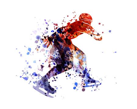 Vecteur aquarelle silhouette patineur Banque d'images - 93777222