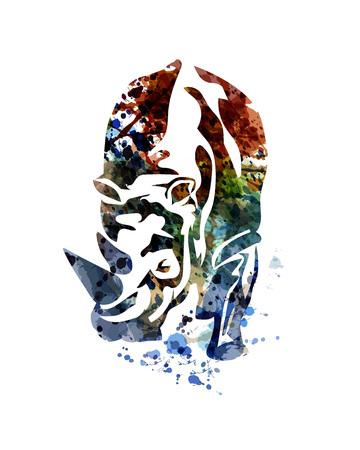 코뿔소의 벡터 수채화 그림 일러스트