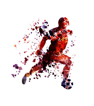 Vector watercolor silhouette soccer player