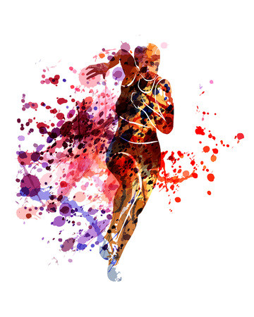 Vector watercolor silhouette of running woman