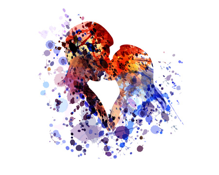 Vector watercolor silhouette of kissing people 일러스트