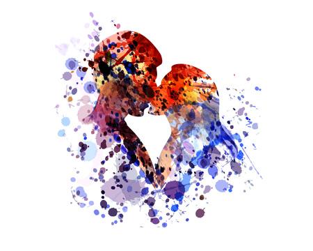 vector silhouette d & # 39 ; aquarelle de baisers personnes Vecteurs