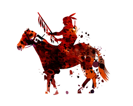Vector watercolor silhouette of an american indian 向量圖像