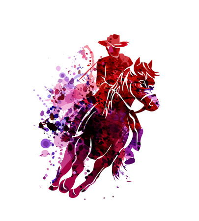 Vector watercolor silhouette of cowboy on a horse