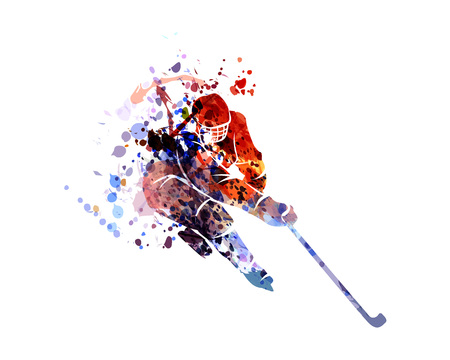 Vector watercolor silhouette hockey player Vettoriali