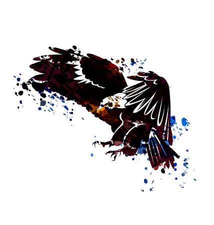 Vector watercolor silhouette of flying eagle