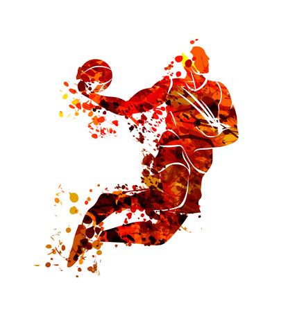Vector aquarel silhouet basketbalspeler Stock Illustratie