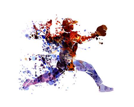 Vector watercolor silhouette baseball player