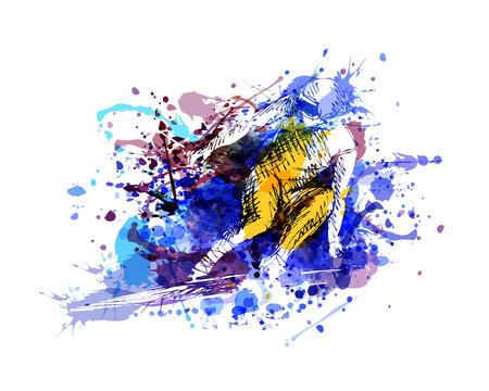 Vector color illustration of a skier Çizim