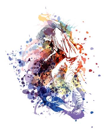 Vector color illustration of a skaterboarder Illustration