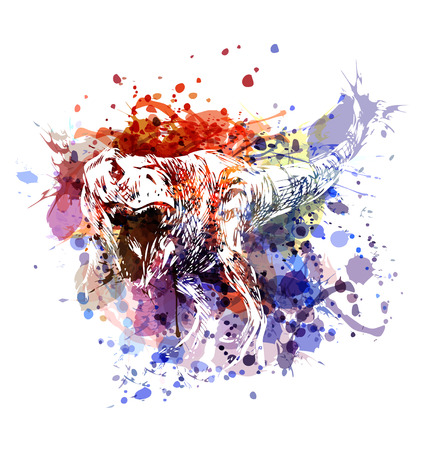 Vector color illustration tyrannosaurus Vettoriali