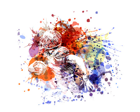 Vector color illustration american football player Stok Fotoğraf - 95658002
