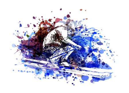 Vector color illustration of a skier