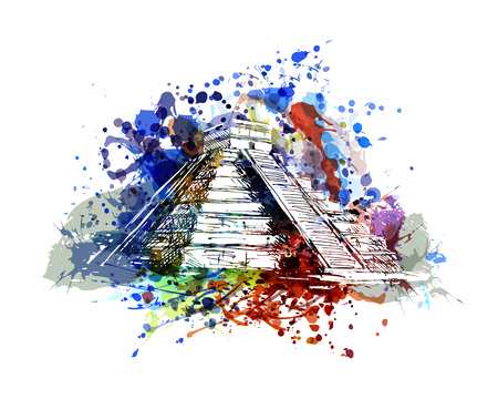 マヤのピラミッドのベクトル色イラスト  イラスト・ベクター素材