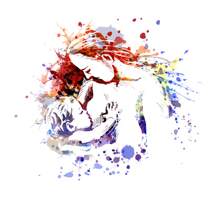 Vector color illustration of mother and baby 일러스트