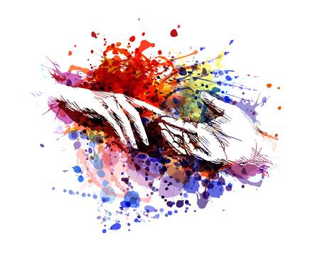 Kolorowa ilustracja wektorowa dotykania rąk Ilustracje wektorowe