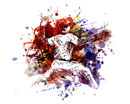 Vector color illustration of a baseball player Çizim