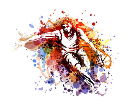 Vector color illustration of a basketball player