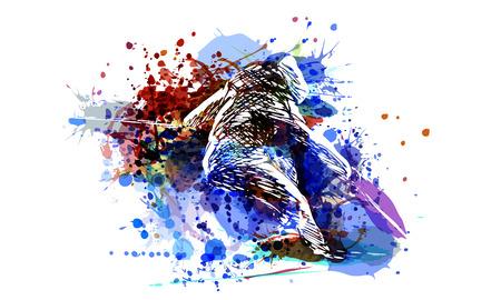 Vector color illustration of a skier