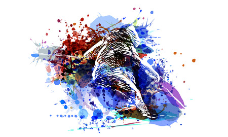 Vector color illustration of a skier Stock fotó - 96049637