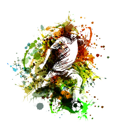 Vector color illustration of a soccer player Çizim
