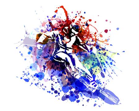Vector color illustration of a skier Stock Illustratie