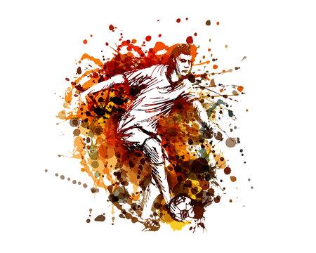 Vector color illustration of a soccer player Illustration