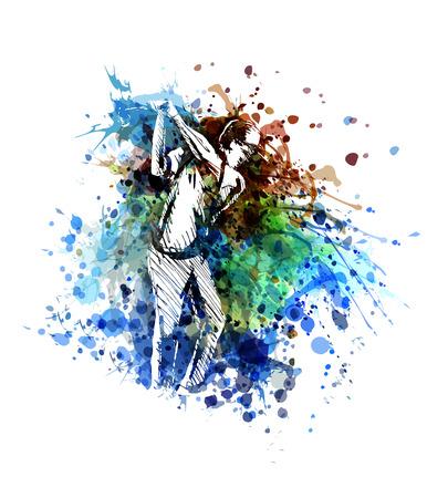 Vector color illustration of a golfer