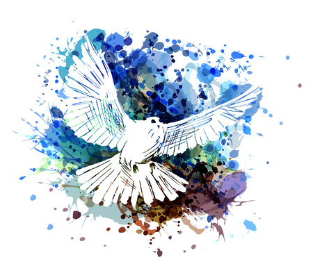 Vector color illustration of a dove