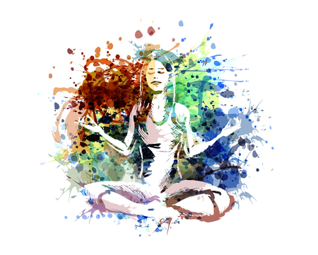 Vector color illustration of a meditating woman 矢量图像