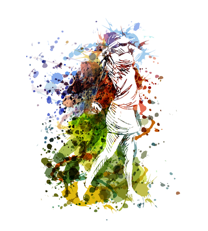 Unique and colorful illustration of a woman playing golf Ilustração