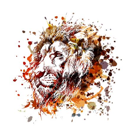 Illustration vectorielle unique et une tête de lion Banque d'images - 97062636