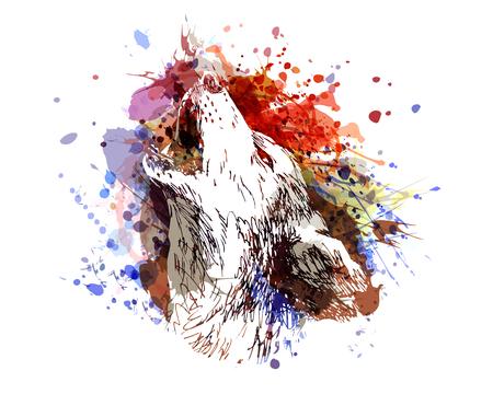 Vector color illustration of a howling wolf Ilustração