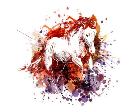 Einzigartige und bunte Illustration eines Pferds