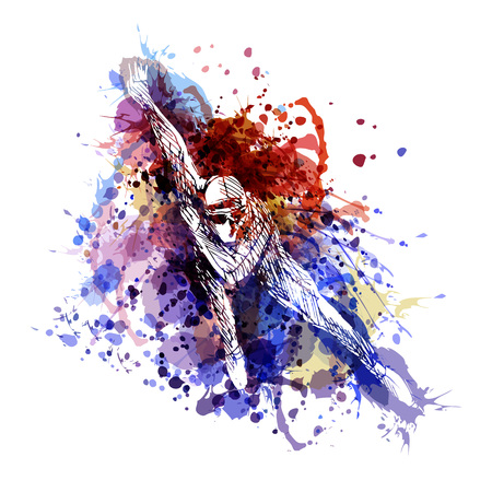 Une illustration de couleur vecteur d & # 39 ; un patineur Banque d'images - 97057383