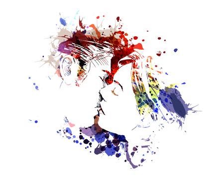 Een vectorkleurenillustratie van kussende mensen Stockfoto - 97057384