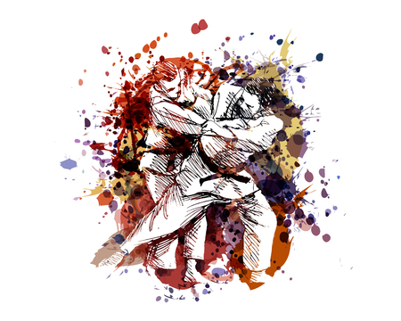A Vector color illustration of judo fighters